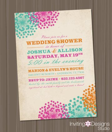 Aqua, pink and orange wedding shower invitation - www.etsy.com/shop/InvitingDesignStudio