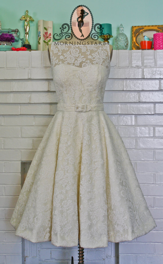 Audrey hepburn inspired tea length wedding dress www for Etsy tea length wedding dress