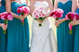 Bridesmaids in teal with pink bouquets {via lisadawn.co.uk}