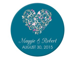 Custom teal and pink wedding envelope stickers - www.etsy.com/shop/PaperInkLove