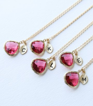 Customised ruby-red bridesmaid necklaces - www.etsy.com/shop/petitformal