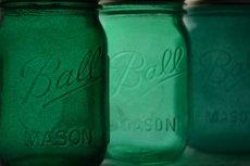 Emerald mason jars - www.etsy.com/shop/willowfairedecor