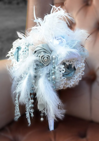 Fabric and feather bouquet - www.etsy.com/shop/BeheldBouquets