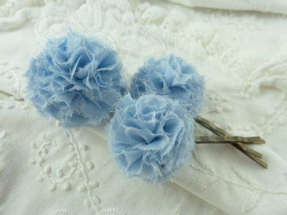 Fabric powder-blue hair pins - www.etsy.com/shop/KrishenkasTreasures
