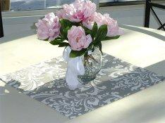Grey damask table squares - www.etsy.com/shop/ThePreppyOwlBoutique
