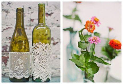 Lace and crochet wine bottle sleeves {via weddingwire.com}