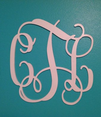 Light pink wall monogram - www.etsy.com/shop/IfYaLikeItMonogramIt