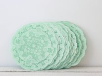Mint doilies - www.etsy.com/shop/MailboxHappiness