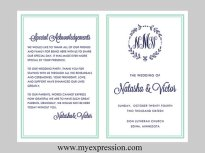 Navy and mint wedding invitation - www.etsy.com/shop/MyExpressionShop