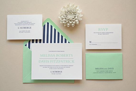 Navy and mint wedding invitation wwwetsycom shop for Minted navy wedding invitations