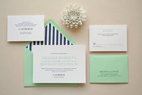 Navy and mint wedding invitation - www.etsy.com/shop/simplicitypapers