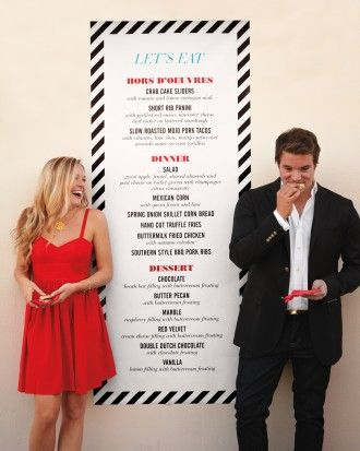 One giant menu instead of individual ones {via marthastewartweddings.com}