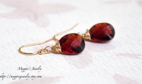Oxblood earrings - www.etsy.com/shop/maggiesjewelry