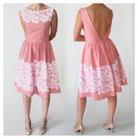 Pink and white lace bridesmaid dress - www.etsy.com/shop/MaisyBrownReproRetro