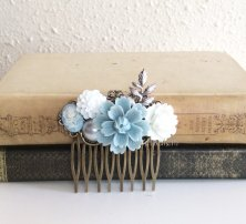 Powder-blue and grey hair comb - www.etsy.com/shop/Jewelsalem