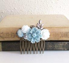 Powder-blue and grey hair comb - www.etsy.com/shop/Jewelsalem