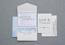 Powder-blue and grey wedding invitation - www.etsy.com/shop/LamaWorks