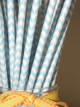 Powder-blue chevron paper straws - www.etsy.com/shop/BakeMeAParty