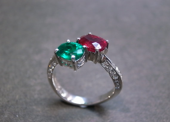 ruby and emerald engagement ring www etsy shop
