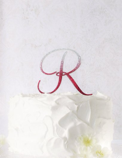 Ruby-red monogram cake topper - www.etsy.com/shop/StudioBloomIowa