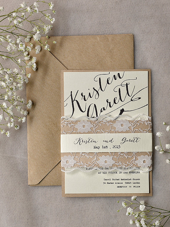 Rustic wedding invitation – www.etsy.com/shop/4LOVEPolkaDots | The ...