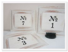 Shabby chic table numbers - www.etsy.com/shop/GreenRidgeDesigns