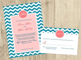 Teal and light pink printable wedding invitation - www.etsy.com/shop/HMinvitations