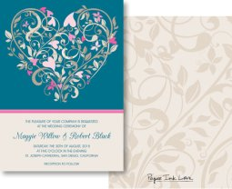 Teal and light pink wedding invitation - www.etsy.com/shop/PaperInkLove