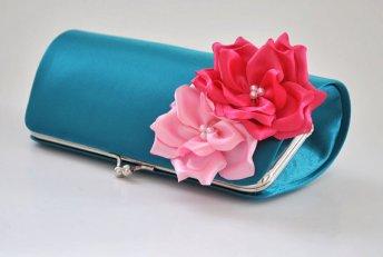 Teal and pink clutch purse - www.etsy.com/shop/Vanijja