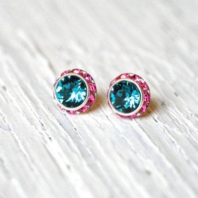 Teal and pink earrings - www.etsy.com/shop/MASHUGANA