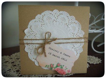 Vintage-style wedding invitation - www.etsy.com/shop/VintageCraftsNZ