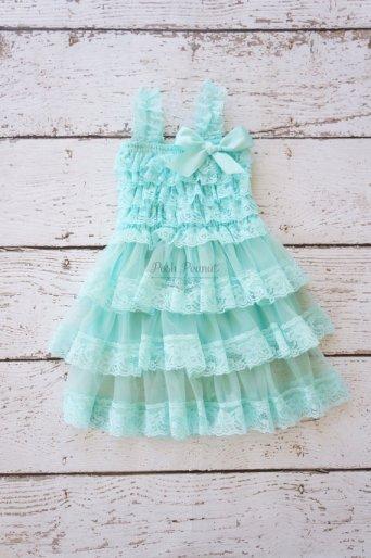 Aqua lace flower girl dress - www.etsy.com/shop/PoshPeanutKids