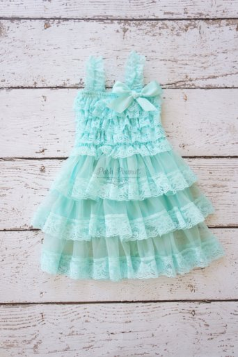 Aqua lace flower girl dress - www.etsy.com/shop/PoshPeanutKids