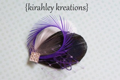 Black, white and purple feather fascinator - www.etsy.com/shop/KirahleyKreations