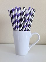 Black, white and purple striped paper straws - www.etsy.com/shop/PuppyCatCrafts