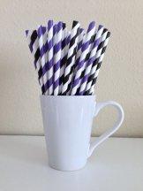 Black, white and purple striped paper straws - www.etsy.com/shop/PuppyCatCrafts