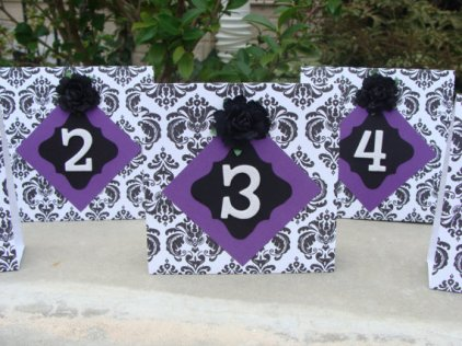 Black, white and purple table numbers - www.etsy.com/shop/crafting4u