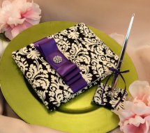 Black, white and purple wedding guest book - www.etsy.com/shop/RomancingJuliet