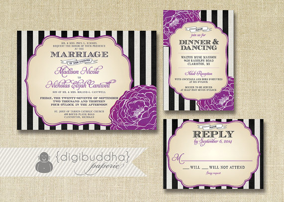 Black, white and purple wedding invitation suite – www.etsy.com/shop ...