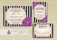 Black, white and purple wedding invitation suite - www.etsy.com/shop/digibuddhaPaperie