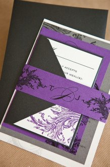 Black, white and purple wedding invitation - www.etsy.com/shop/lvandy