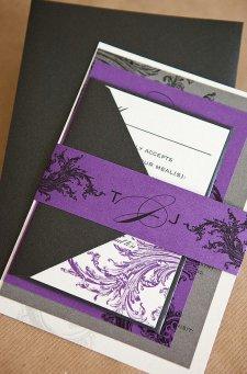 Black, white and purple wedding invitation - www.etsy.com/shop/lvandy