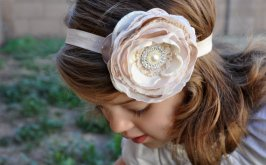 Blush and ivory flower girl headband - www.etsy.com/shop/PixiePetalsHandmade