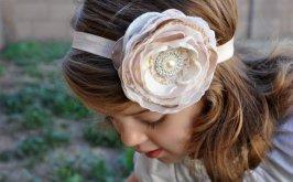 Blush and ivory flower girl headband - www.etsy.com/shop/PixiePetalsHandmade