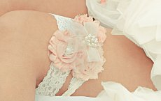 Blush and ivory garters - www.etsy.com/shop/nanarosedesigns