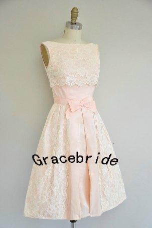 Blush and ivory lace bridesmaid dress - www.etsy.com/shop/Gracebride