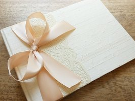 Blush and ivory wedding guest book - www.etsy.com/shop/EnvelopeGuestBooks