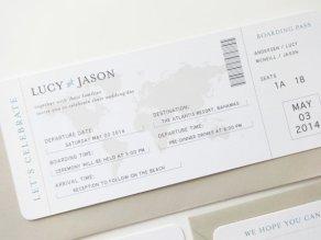Boarding pass wedding invitation - www.etsy.com/shop/mariechangdesigns