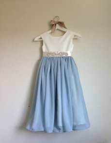 Dusty blue and ivory flower girl dress - www.etsy.com/shop/MiaLorenBoutique