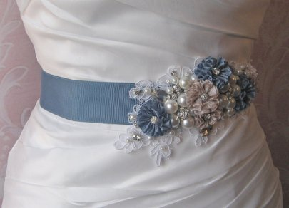 Dusty blue bridal sash - www.etsy.com/shop/TheRedMagnolia